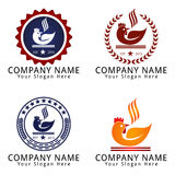 Rooster Chicken like a bowl with smoke and Chopstick Concept Logo Stock Photography