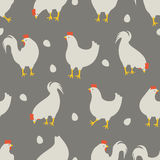 Rooster and chicken pattern. An illustration for your creativity. This is seamless pattern. Good choice for pattern of textile, gift paper, print of clothing Royalty Free Stock Photos