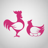 Rooster and chicken silhouettes. Vector illustration of red rooster and chicken silhouettes on white background Royalty Free Stock Photos