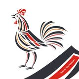 Rooster - Chicken symbol of chinese New Year with tribal design Stock Photo