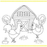 Rooster and chickens on the bacgroung of rural landscape Stock Image
