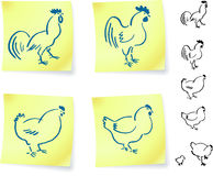 Rooster and chickens on post it notes Royalty Free Stock Photo