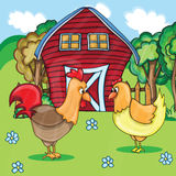 Rooster and chickens on rural  Stock Photography