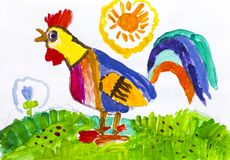 Rooster. Child watercolour hand drawing. Stock Image