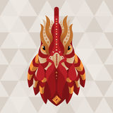 Rooster. Chinese horoscope sign. Vector illustration in ethno style vector illustration