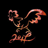 Rooster chinese new year design graphic. Year 2017 of rooster chinese new year design. Graphic line art sketch of cock with red watercolor fillon black Stock Photography
