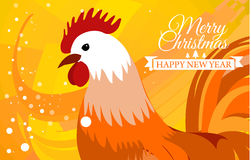 Rooster 2017 Chinese New Year greeting card. Christmas background. beautiful colorful and bright. Celebration with Stock Images