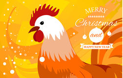 Rooster 2017 Chinese New Year greeting card. Christmas background.. Rooster 2017 Chinese New Year greeting card. New Year background. Rooster beautiful colorful Royalty Free Stock Image