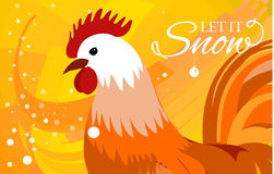Rooster 2017 Chinese New Year greeting card. Christmas background.  Royalty Free Stock Photography