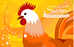 Rooster 2017 Chinese New Year greeting card. Christmas background. beautiful colorful and bright.  Stock Image
