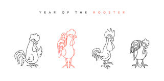 Rooster. Chinese New Year Symbol 2017. Funny rooster and hen in doodle style for calendars and greeting cards. Character cock set. Outline drawing. Vector Royalty Free Stock Photo