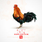 Rooster Chinese Symbol 2017 Colorful Print. Calendar title page with classic crowing red rooster zodiac symbol and new year greeting abstract vector illustration Stock Photography