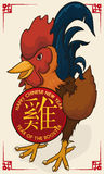 Rooster of Chinese Zodiac Celebrating New Year, Vector Illustration Royalty Free Stock Images