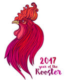 Rooster, Chinese zodiac symbol of the 2017 year. Colorful vector. Illustration  on white. Zentangle inspired. Head of cock in red colors. Design for t-shirt Royalty Free Stock Photo