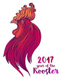 Rooster, Chinese zodiac symbol of the 2017 year. Colorful vector. Illustration  on white. Zentangle inspired. Head of cock in red colors. Design for t-shirt Stock Image