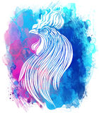 Rooster, Chinese zodiac symbol of the 2017 year. Colorful vector. Illustration  on white. Zentangle inspired. Head of cock in red colors. Design for t-shirt Royalty Free Stock Photos