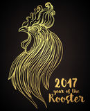 Rooster, Chinese zodiac symbol of the 2017 year. Colorful vector. Illustration  on white. Zentangle inspired. Head of cock in red colors. Design for t-shirt Stock Images
