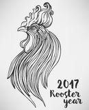 Rooster, Chinese zodiac symbol of the 2017 year. Colorful vector. Illustration  on white. Zentangle inspired. Head of cock in red colors. Design for t-shirt Royalty Free Stock Photography