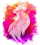 Rooster, Chinese zodiac symbol of the 2017 year. Colorful vector. Illustration  on white. Zentangle inspired. Head of cock in red colors. Design for t-shirt Stock Photography