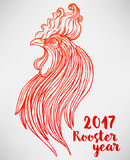 Rooster, Chinese zodiac symbol of the 2017 year. Colorful vector Stock Photography