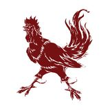 Rooster Chinese zodiac. Vector isolated silhouette fiery rooster Chinese zodiac sign in 2017 Royalty Free Stock Images