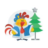 Rooster in Christmas Suit Cartoon Flat Vector Icon Stock Images