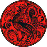 Rooster in a circle with pattern Stock Photo