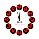 Rooster clock, symbol of 2017 new year Stock Image