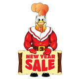 Rooster in clothing Santa Claus with a banner with an inscription New Year Sale Royalty Free Stock Photos