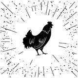 Rooster. Cock. Abstract  logo,  icon. Red  as symbol of new year 2017 in Chinese calendar. Monochrome  illustration  Stock Photos