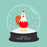 Rooster bird. Crystal ball with snowflakes. 2017 Happy New Year symbol Chinese calendar. Cute cartoon funny character Big fea. Ther tail. Flat design. Blue vector illustration