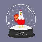 Rooster Cock bird. Crystal ball with snowflakes. 2017 Happy New Year symbol Chinese calendar. Cute cartoon funny character Big fea. Ther tail. Flat design Royalty Free Stock Photos