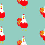 Rooster Cock bird. Seamless Pattern. 2017 Happy New Year symbol Chinese calendar. Cute cartoon funny character with big feather ta. Il. Baby farm animal. Flat Royalty Free Stock Photography