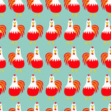 Rooster bird. Seamless Pattern. 2017 Happy New Year symbol Chinese calendar. Cute cartoon funny character with big feather ta. Il. Baby farm animal. Blue royalty free illustration