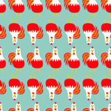 Rooster bird. Seamless Pattern line. 2017 Happy New Year symbol Chinese calendar. Cute cartoon funny character with big feather tail. Baby farm animal. Blue stock illustration