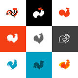Rooster and cock. Flat design style vector illustrations set of Royalty Free Stock Images
