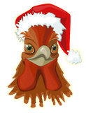 Rooster , head in the hat of Santa Claus , stock illustration
