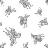 Rooster. Cock seamless pattern in Vintage engraving style. Grunge background for the farms and manufacturing depicting. Rooster. Cock seamless pattern in Vintage Royalty Free Stock Images