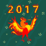 Rooster cock, symbol of 2017 on the Chinese calendar. Rooster bird. Year 2017 new chinese chicken lunar bird concept of the Rooster. Vector illustration Stock Photography