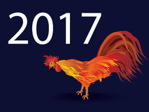 Rooster. Cock. Symbol of new year 2017 in Chinese calendar. Vect. Or illustration. Design element for new year 2017 greeting cards wide style vector illustration