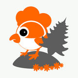 Rooster, cockerel, chicken with a fir-tree logo symbol 2017 on the Chinese calendar. The silhouette is orange, gray two colors. Rooster, cockerel, chicken with a Vector Illustration