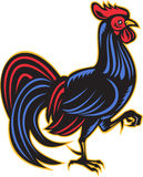 Rooster cockerel side woodcut Stock Photo
