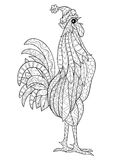 Rooster. Coloring book page for adult.Doodle zentangle style. Symbol of New Year. Cockerel, rooster, cock, bird stock illustration