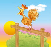 Rooster crowing at dawn. Illustration of rooster crowing at dawn in the farm royalty free illustration