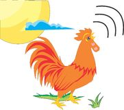 Rooster. A rooster crowing in the morning that indicates the sun is beginning to rise Stock Photo