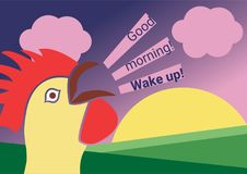 Rooster crows `good morning! Wake up!` at sunrise. Rooster in the early morning on a cloudy sunrise background crows `Good morning! Wake up!`. Rooster crowing at Stock Illustration
