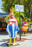 Rooster with the cuban and the american flags in Little Havana, Stock Image