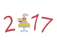1063_rooster. Cute cartoon rooster character illustration. Calendar template with rooster for creating a calendar with funny cocks. Symbol of 2017 red rooster Stock Images