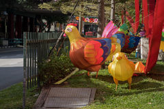 Rooster decorations on Singaporean Street Royalty Free Stock Image