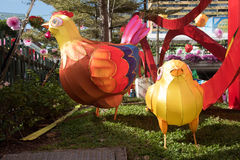 Rooster decorations on Singaporean Street Stock Image